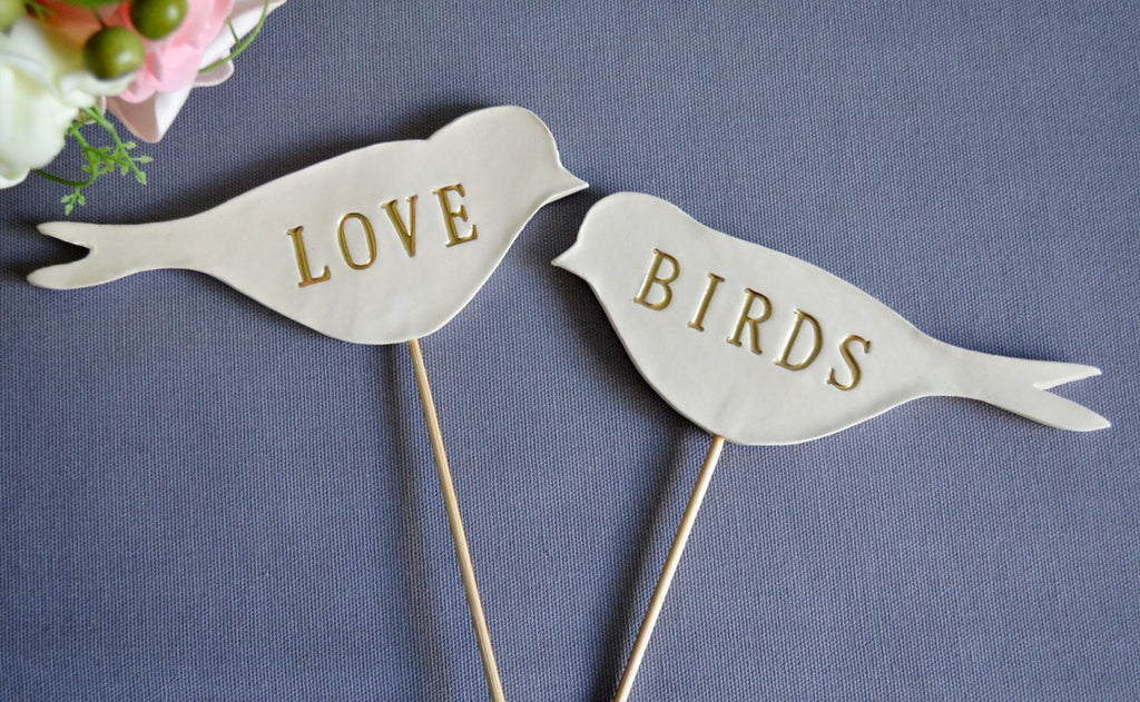 Gold Love Bird Wedding Cake Toppers - SHIPS FAST - Large Size