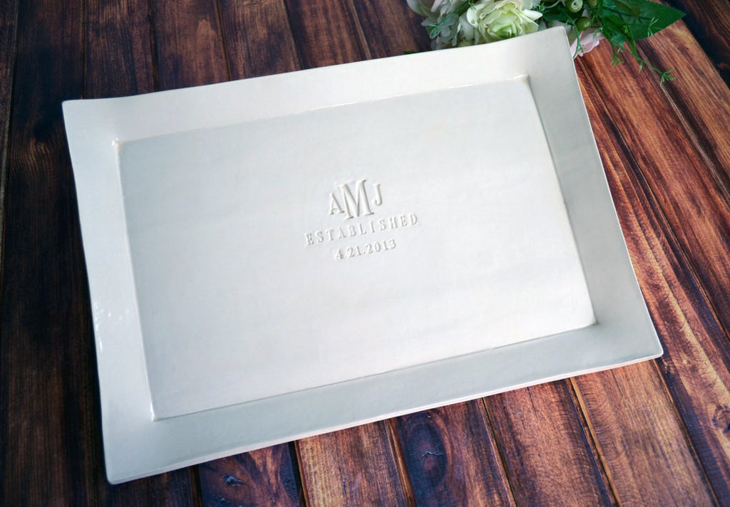 Large Rectangular Wedding Signature Guestbook Platter or Wedding Gift
