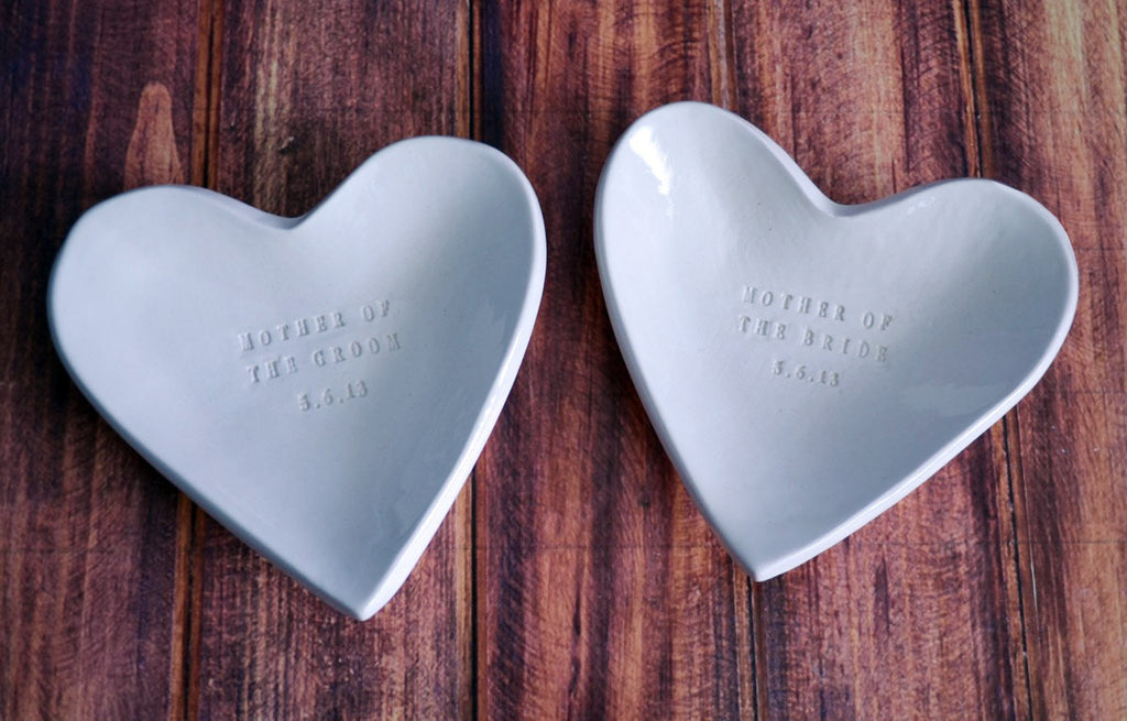 Mother of the Bride and Mother of the Groom Gift - Personalized Heart Shaped Bowls - Gift Boxed and Ready to Give
