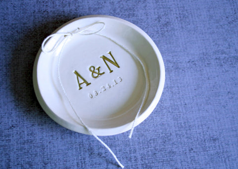 Gold Personalized Round Ring Bearer Bowl - Gift Bagged & Ready to Give