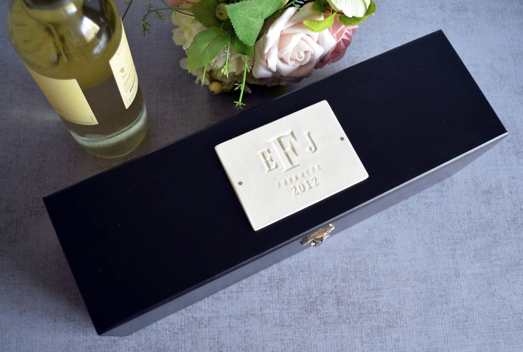 Personalized Wedding Gift - Black Wood Wine Box With Tools
