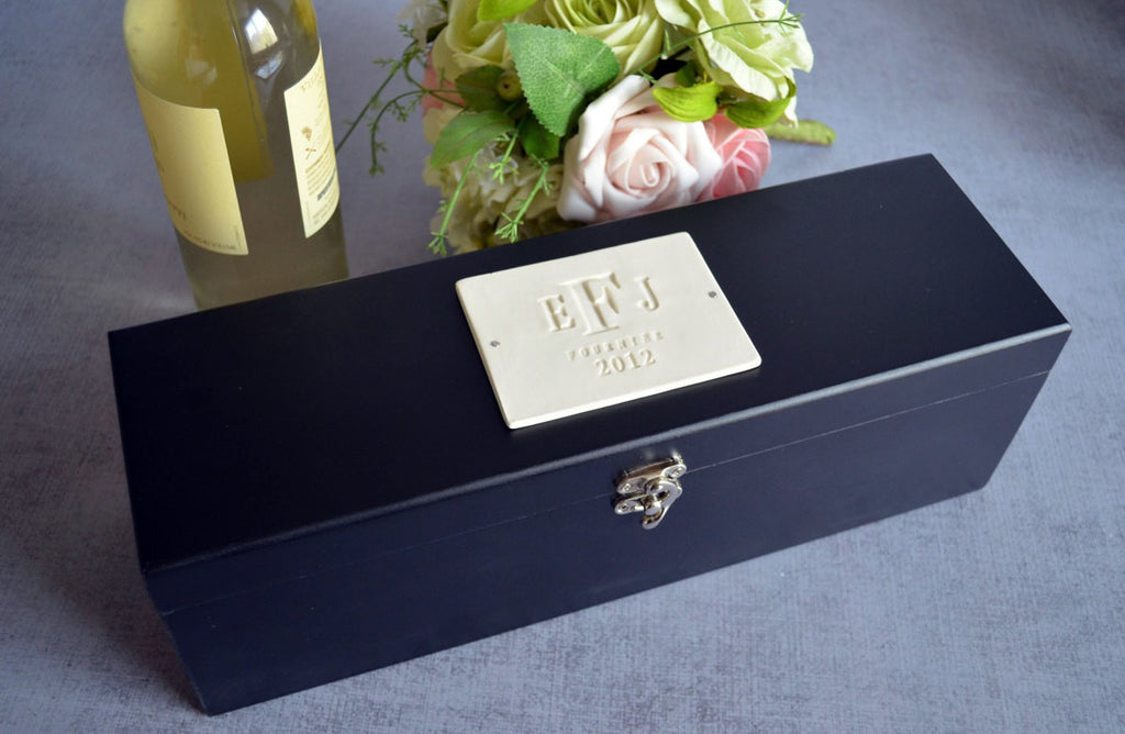 Personalized Housewarming Gift or Hostess Gift - Black Wood Wine Box With Tools