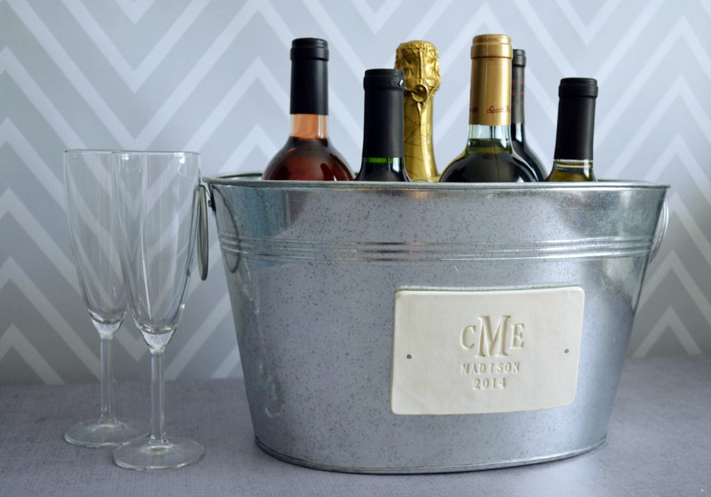 Large Beverage Tub, Champagne Tub - With Monogram - Personalized Wedding Gift