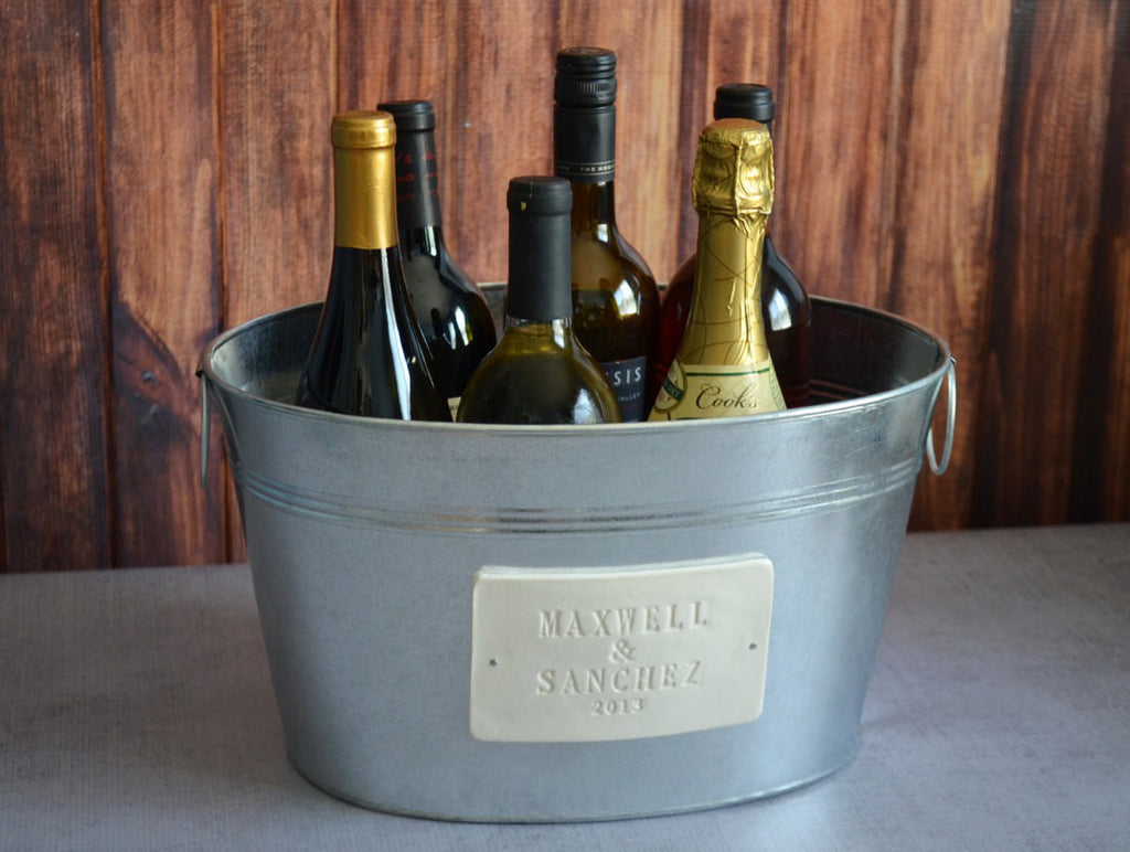 Personalized Wedding Gift - Large Champagne Tub with First Names