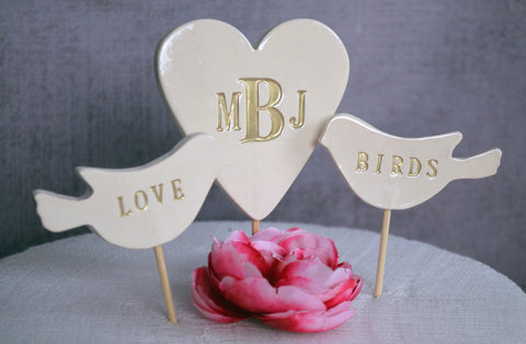 PERSONALIZED Fleur-de-lis Wedding Cake Topper in Gold