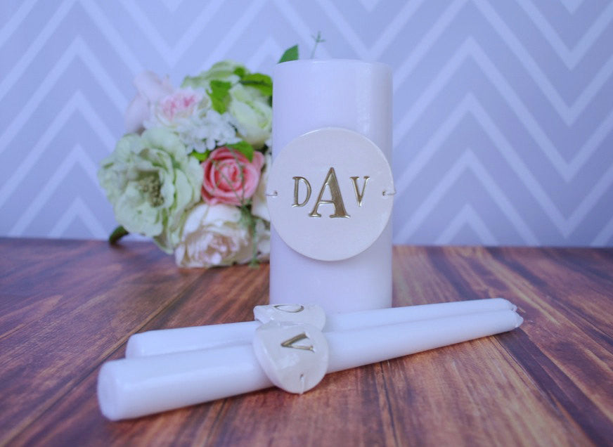 PERSONALIZED Unity Candle Ceremony Set - Painted in Gold