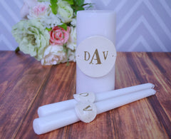 PERSONALIZED Unity Candle Ceremony Set - Painted in Gold - Gift Boxed