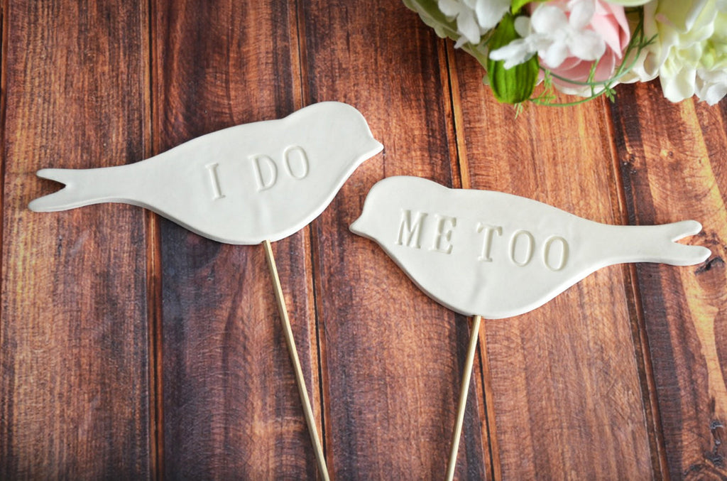 I Do Me Too - Bird Wedding Cake Toppers - SHIPS FAST - Large Size
