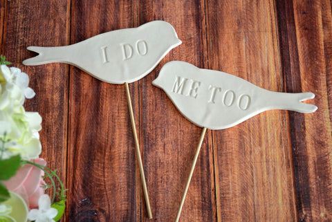 I Do Me Too - Bird Wedding Cake Toppers