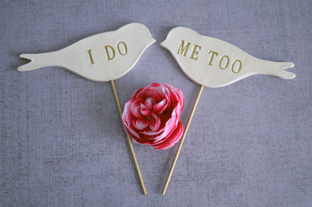 I Do Me Too - Bird Wedding Cake Toppers - Gold, Silver or Black - SHIPS FAST - Large Size