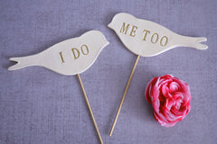 I Do Me Too - Bird Wedding Cake Toppers - Gold, Silver or Black