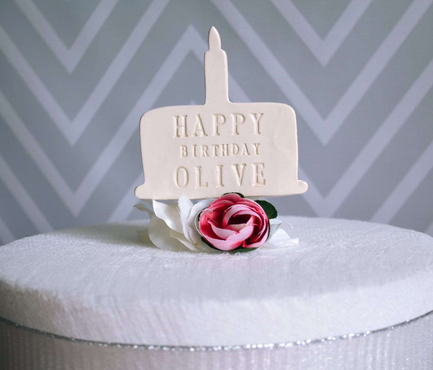 Pink Personalized Name Birthday Cake Topper