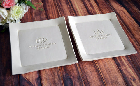 Set of Personalized Platters - Mother of the Bride and Mother of the Groom Gifts