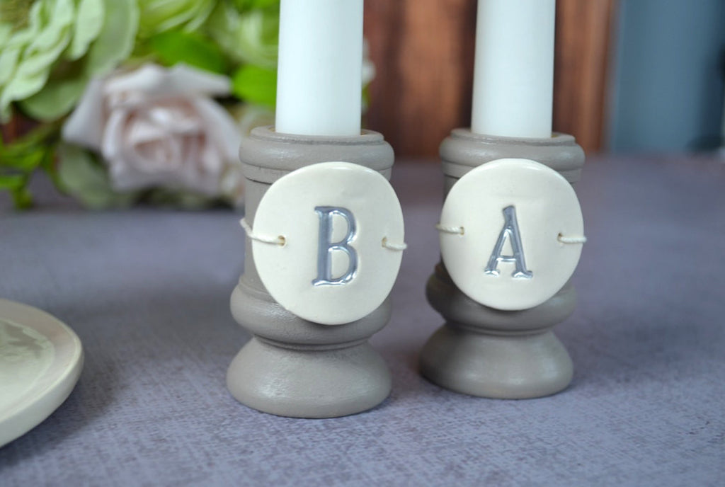 Round PERSONALIZED Unity Candle Ceremony Set - with tiles on candle holders