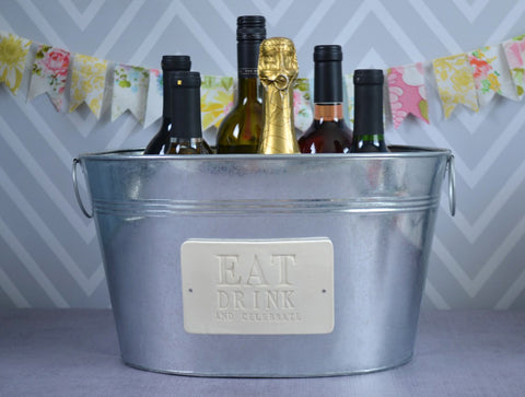 Unique Gift Idea -  Large Champagne Tub - Eat, Drink and Celebrate - Wedding Gift, Anniversary Gift, Housewarming Gift
