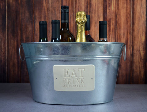 Personalized Wedding Gift - Large Champagne Tub - Eat Drink and Be Married