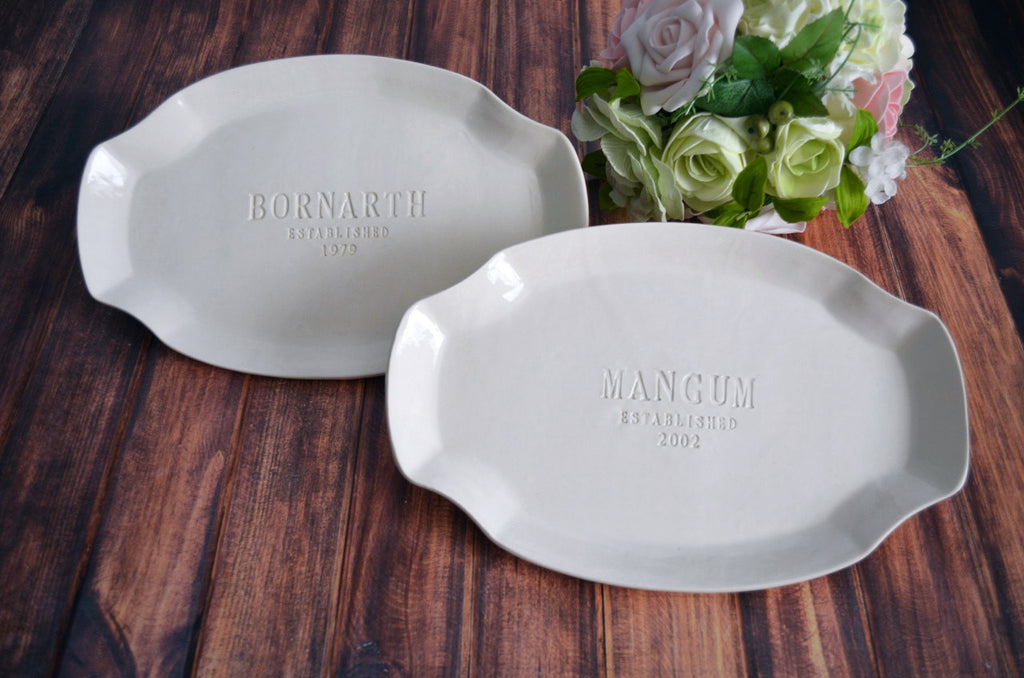 Set of Personalized Platters - Unique Parent Wedding Gift - Gift boxed