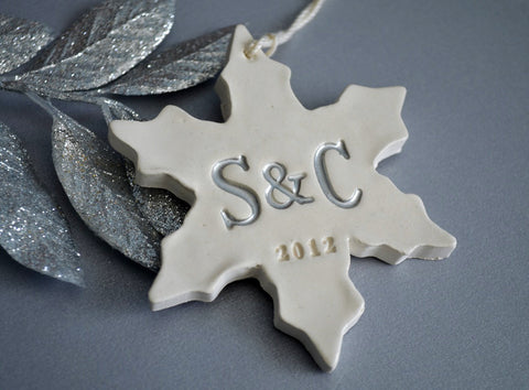 Personalized First Christmas Snowflake Ornament with Initials - Gift boxed and Ready to Give