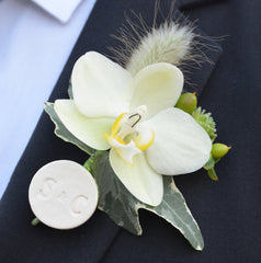 Personalized Wedding Boutonniere Pin with Initials - Gift Boxed