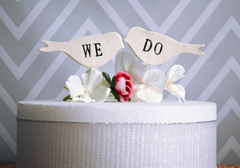 We Do Bird Wedding Cake Toppers in Black - small size