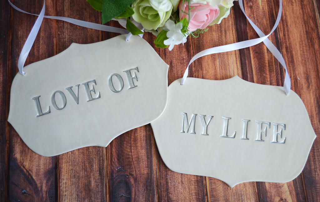 Large Silver 'Love Of My Life' Wedding Sign Set to Hang on Chair and Use as Photo Prop