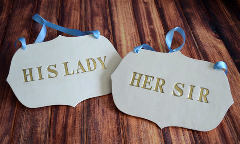 Large Gold 'His Lady' 'Her Sir' Wedding Sign Set to Hang on Chair and Use as Photo Prop