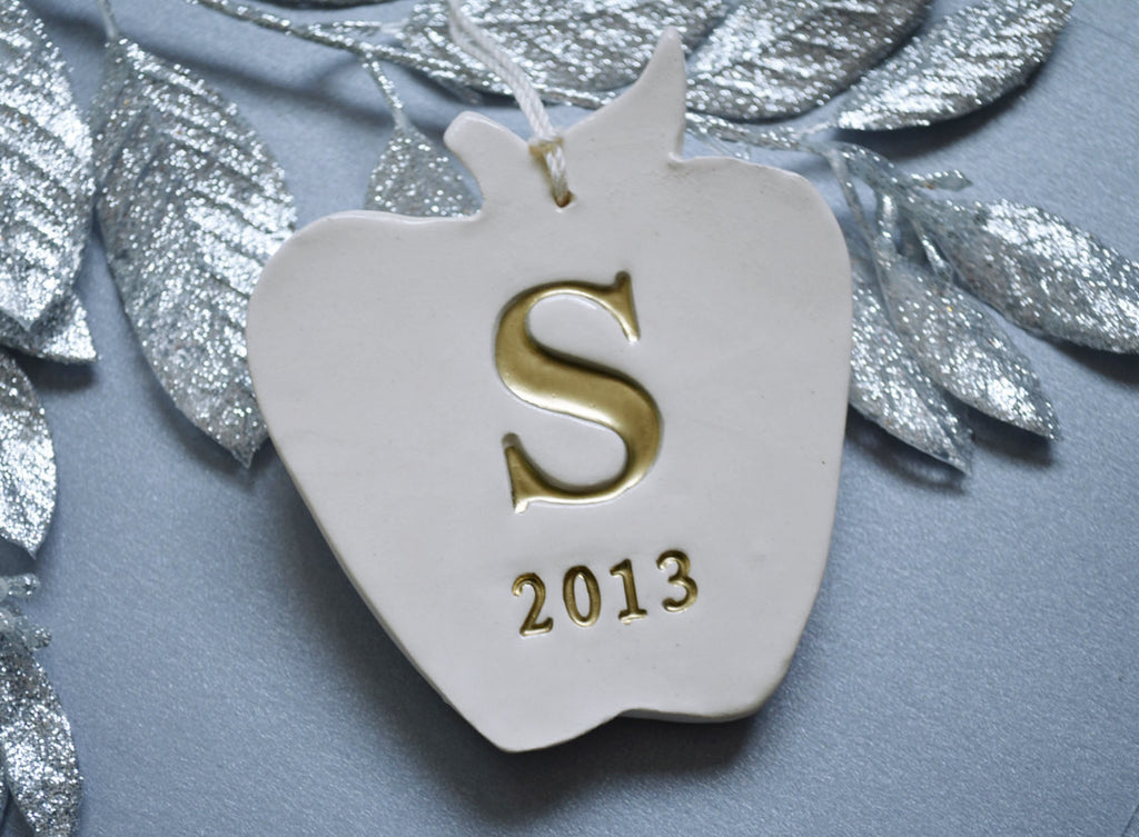 Personalized Teacher Gift - Apple Ornament With Last Name Initial - Gift Boxed and Ready to Give