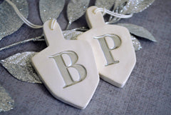 Set of 2 Personalized Dreidel Hanukkah Ornaments with Initials - Gift boxed and Ready To Give