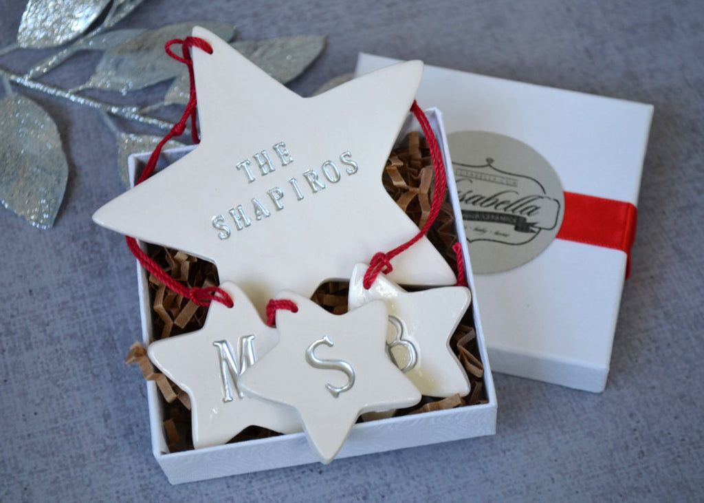 Family of 5 Customized Star Christmas Ornaments, Gift boxed and Ready To Give