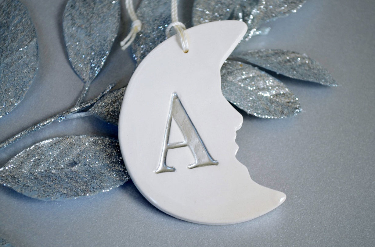 Personalized Baby\'s First Christmas Ornament - Moon Shaped with Initia