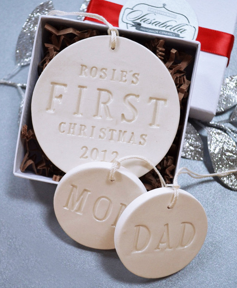 Personalized Baby's First Christmas set with Mom and Dad Ornaments, Gift Boxed