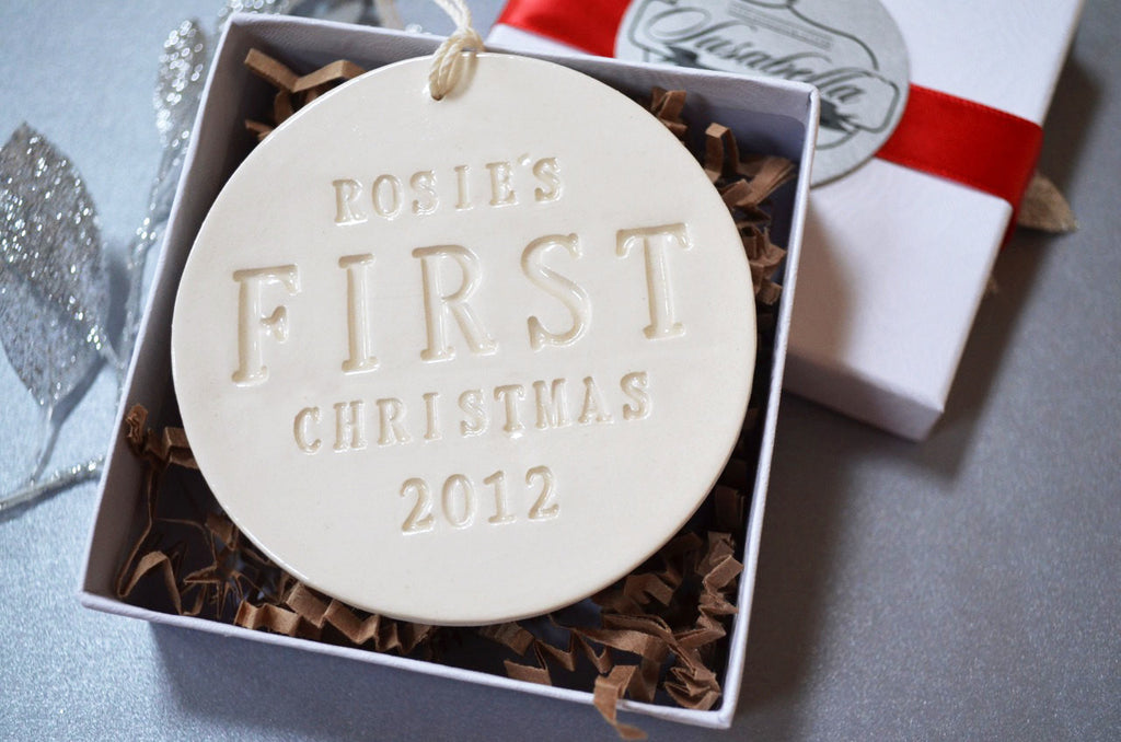 Personalized Baby's First Christmas Ornament, Gift Boxed
