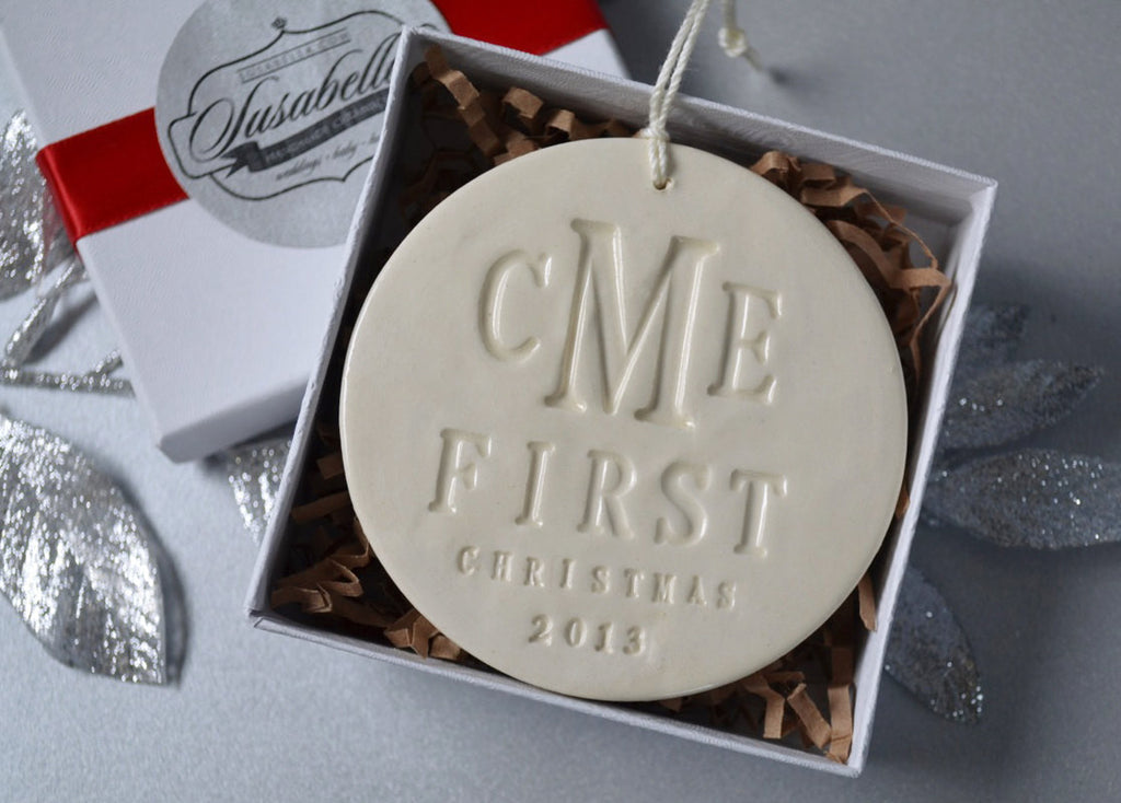 Monogramed First Christmas Ornament, Gift Boxed and Ready to Give