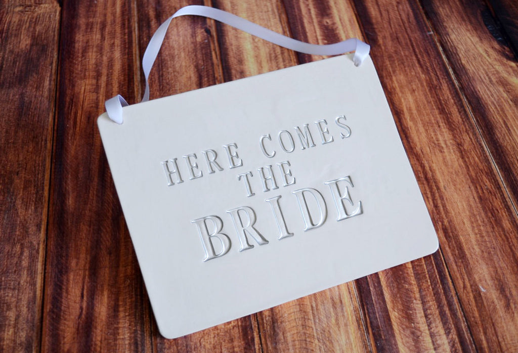 Rectangular Here Comes The Bride Wedding Sign - to carry down the aisle and use as photo prop