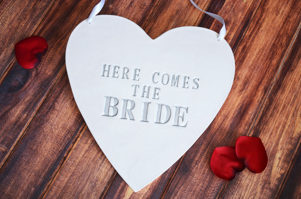 Here Comes The Bride Heart Wedding Sign - to carry down the aisle and use as photo prop