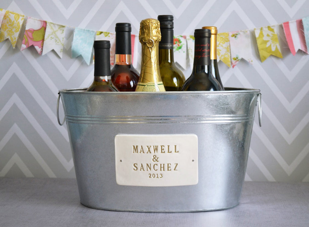 Personalized Wedding Gift - Large Beverage Tub with First Names and Date  in Gold
