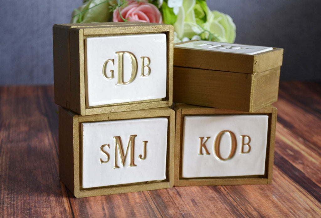 Set of 4 PERSONALIZED Bridesmaid Gifts or Hostess Gifts in Gold - Keepsake Box - Gift Packaged & Ready to Give