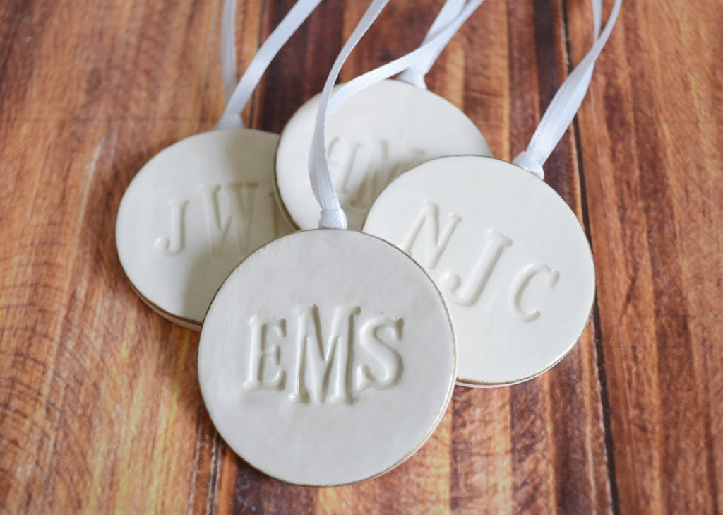 Set of 4 Large Round Personalized Wedding Bouquet Charms  - Gift Boxed