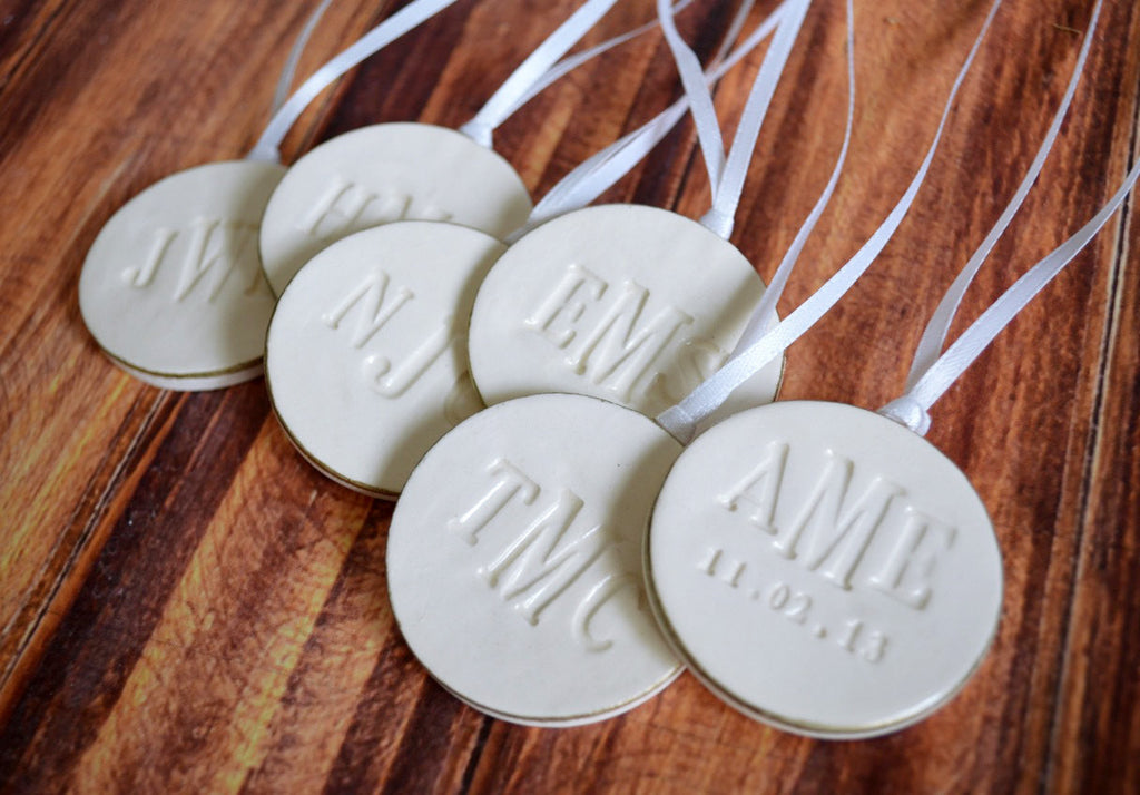 Set of 6 Large Round Personalized Wedding Bouquet Charms  - Gift Boxed