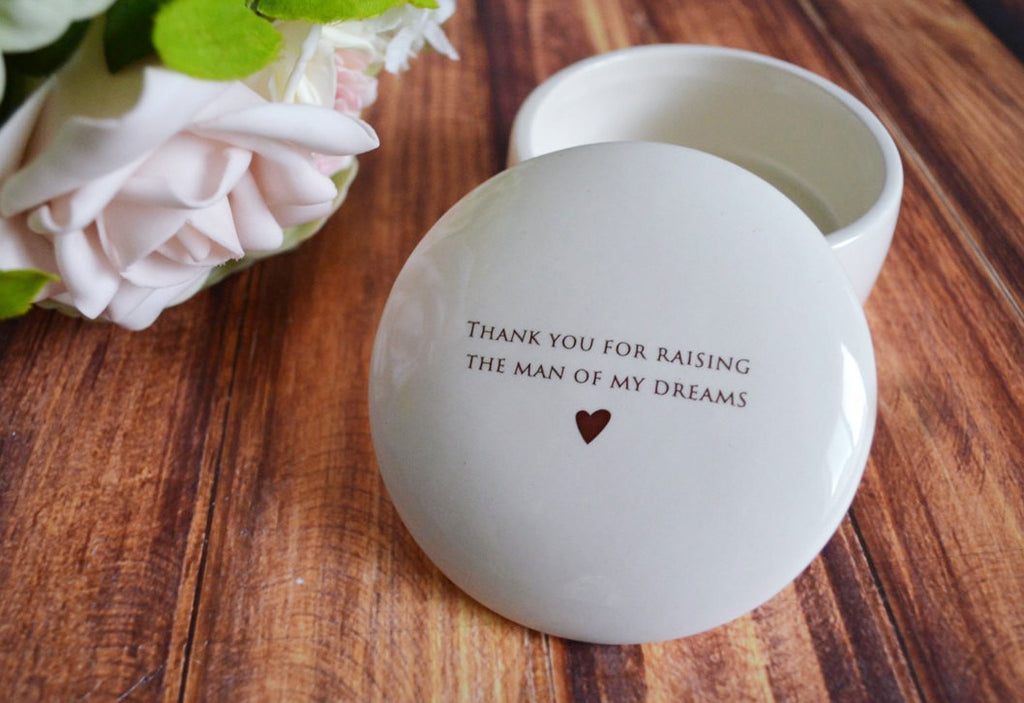 Unique Mother of the Groom Gift - Keepsake Box - Add Custom Text - Thank you for raising the man of my dreams - With Gift Box