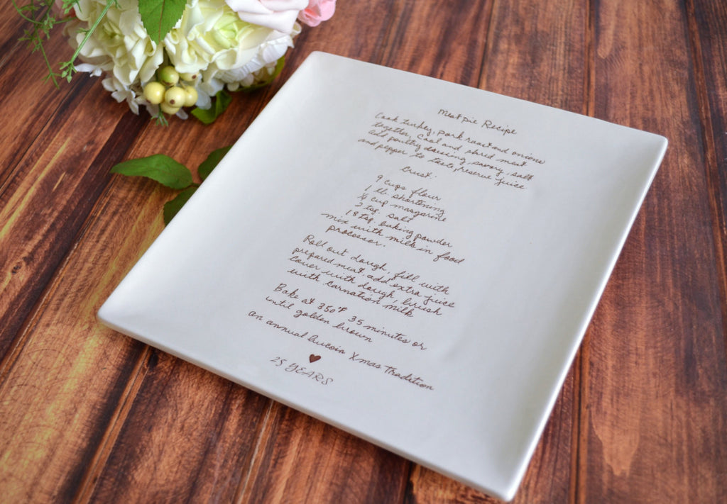 Large Personalized Plate with Family Recipe - 10x 10 - Housewarming or Birthday Gift