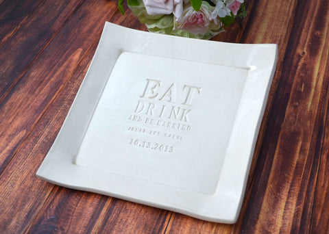Eat, Drink and Be Married - Personalized Wedding Cake Platter with Names and Date - Wedding Gift - Gift boxed