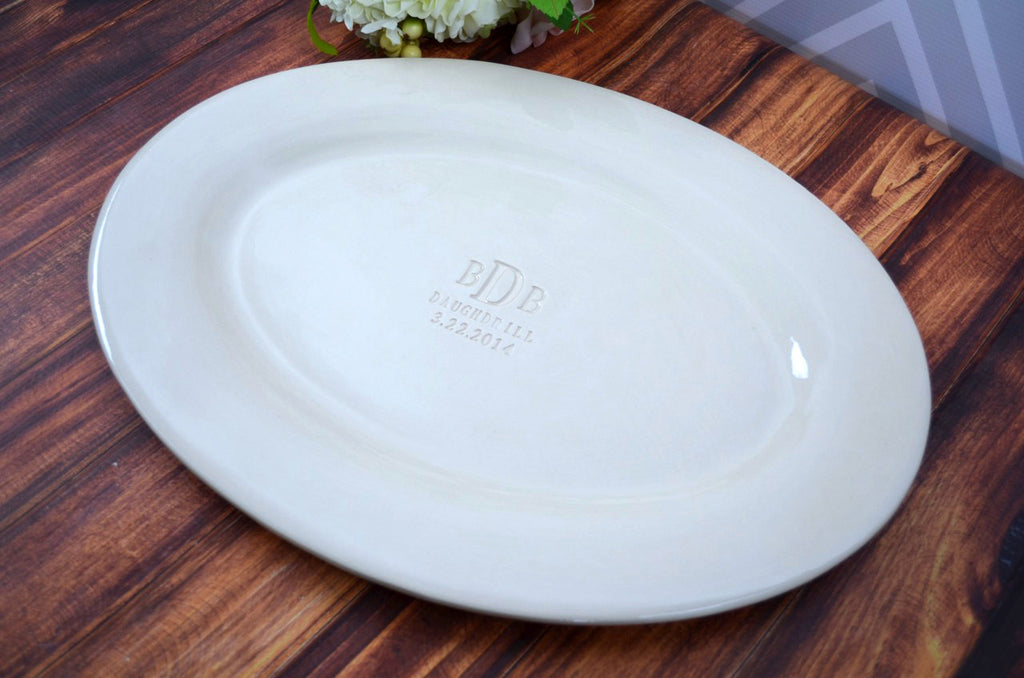 Monogrammed Wedding Signature Guestbook Oval Platter or Heirloom Wedding Gift with Names and Date  - Gift boxed
