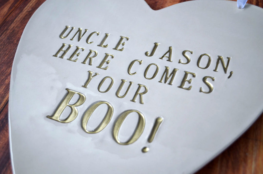 Personalized Heart Wedding Sign - Here Comes Your Boo - Sign to carry down the aisle and use as photo prop