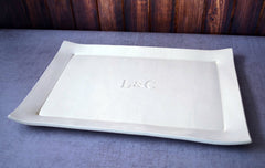 Personalized Wedding Gift - Large Rectangular Wedding Signature Guestbook Platter with Initials - Gift Boxed