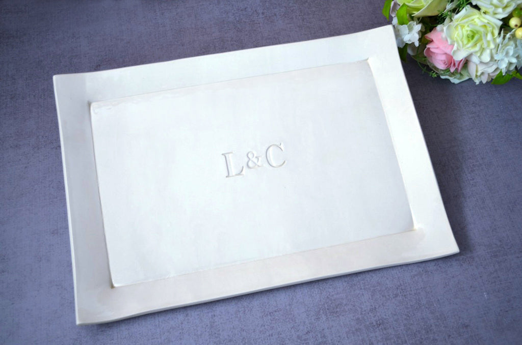 Large Rectangular Wedding Signature Guestbook Platter or Wedding Gift with Initials - Gift Boxed