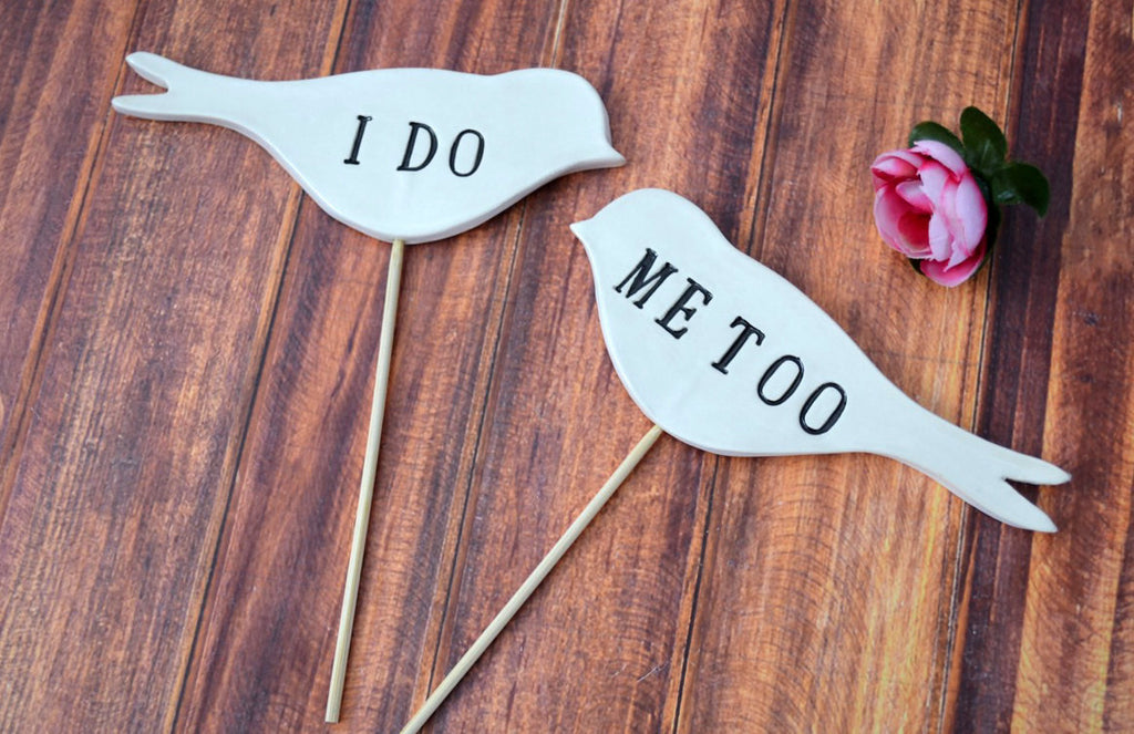 I Do Me Too - In Black - Bird Wedding Cake Toppers - SHIPS FAST - Large Size