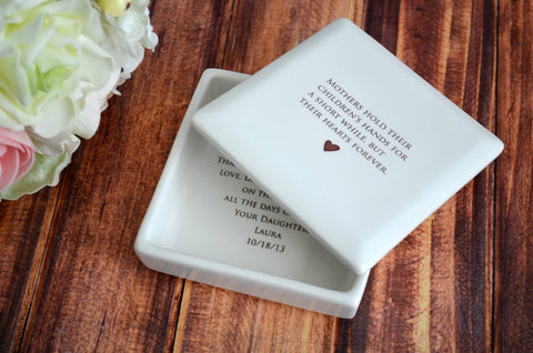 Mother of the Bride Gift or Mother of the Groom Gift - Deep Square Keepsake Box - With Wedding Date - Gift Boxed