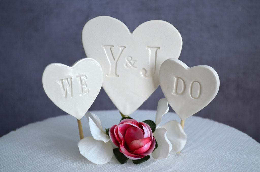 PERSONALIZED Heart Wedding Cake Topper with Initials