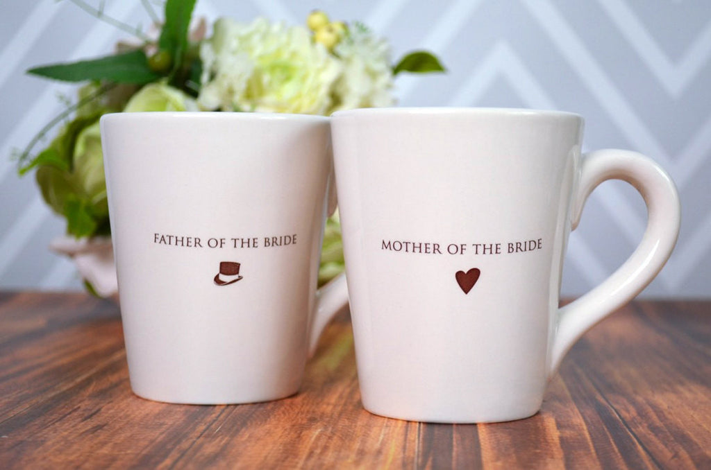 Mother of the Bride or Groom Gift, Father of the Bride or Groom Gift, Parent Wedding Gift - Individual or Set of Coffee Mugs